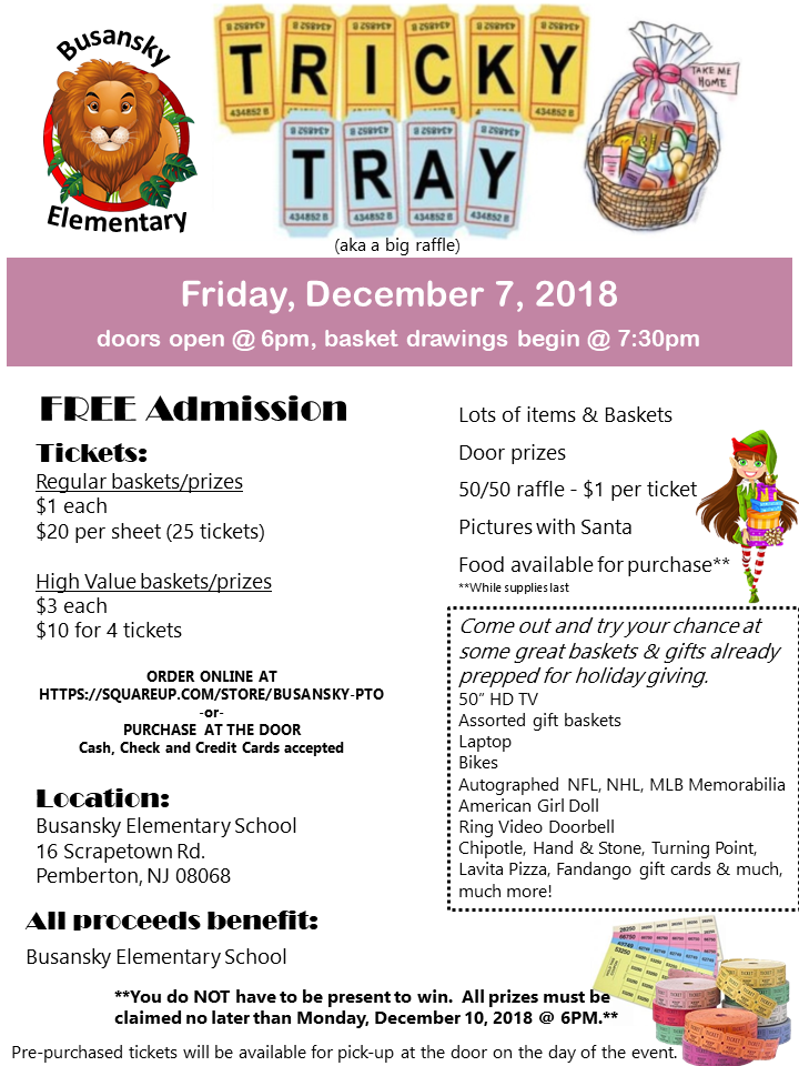 Busansky Tricky Tray Friday, December 7, 2018
