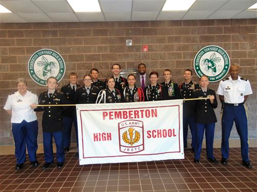 Seniors (LET4) Cadets with Advisors and Principal Joseph.