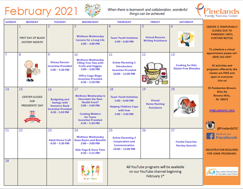 Pinelands Family Success Center Feb. Calendar