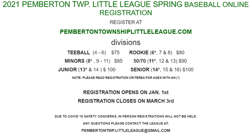 Registration Information for Spring Teeball