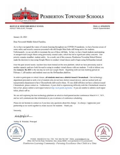 Letter to Parents & Guardians about Newcomb's GoGuardian Platform Update