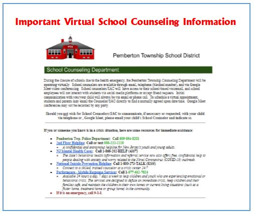 Important Virtual School Counseling Information